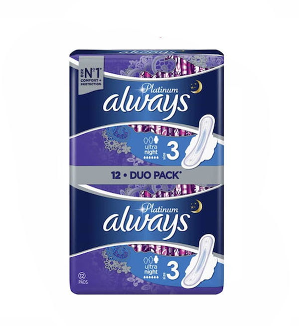 Always Σερβιέτες Platinum Ultra Night No3 Duo Pack 12τεμ