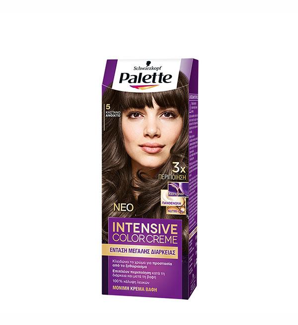 Palette Βαφή Μαλλιών Intensive Color Cream Καστανό Ανοιχτό No 5 (100ml)