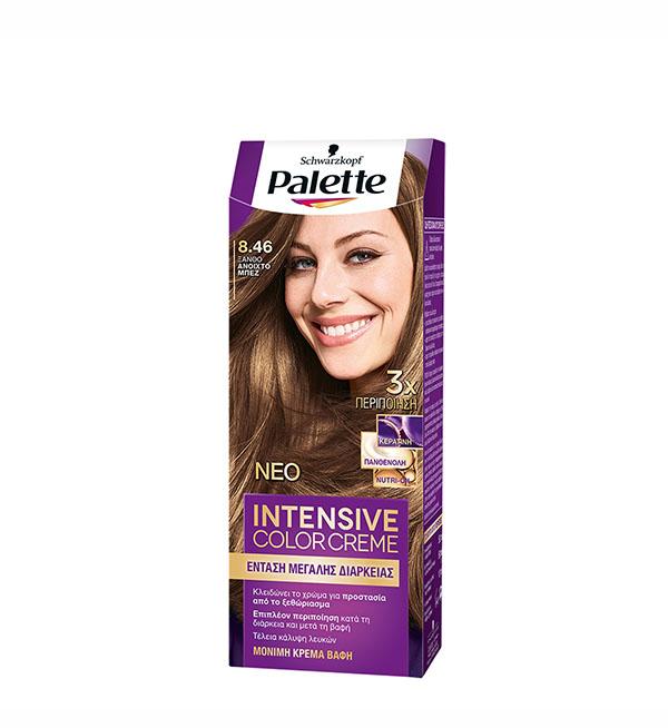 Palette Βαφή Μαλλιών Intensive Color Cream Ξανθό Ανοιχτό Μπέζ No 8.46 (110ml)