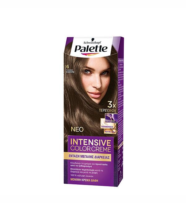 Palette Βαφή Μαλλιών Intensive Color Cream Ξανθό Σκούρο No 6 (110ml)